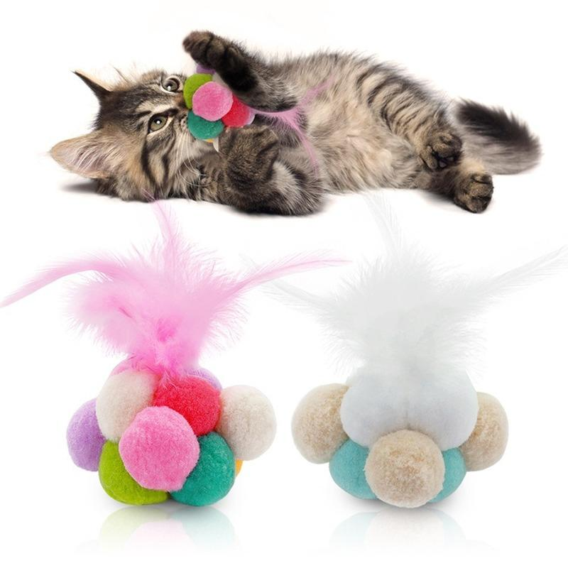 Creative Pet Cat Toys Colorful Elastic Feather Bell Ball Hand Made Cat Toys Cheap Good Quality Fast Shipping