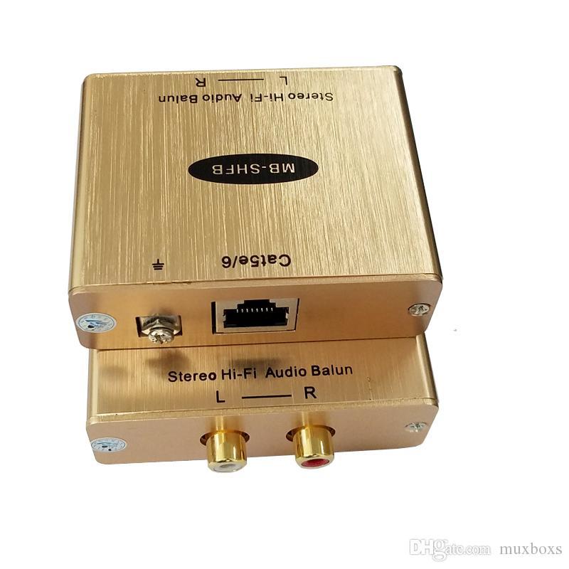 Cat5 Ses Adaptörü RCA Ses RJ45 Dönüştürücü Cat5 AV Extender L / R RCA IP Üzerinden Gürültü Yok