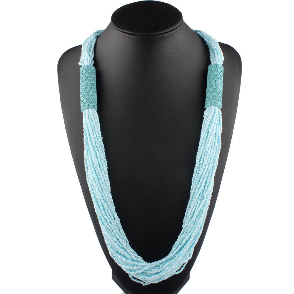 Claire Jin Small Beads Collana bohémien Catena per maglione in legno intagliato a mano per donna Accessorio moda gioielli etnici vintage