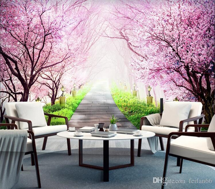 flor de cerejeira mural de TV parede de fundo 3D Nordic parede da sala de pintura decorativa vivas 3D papel de parede revestimento de parede Europeia