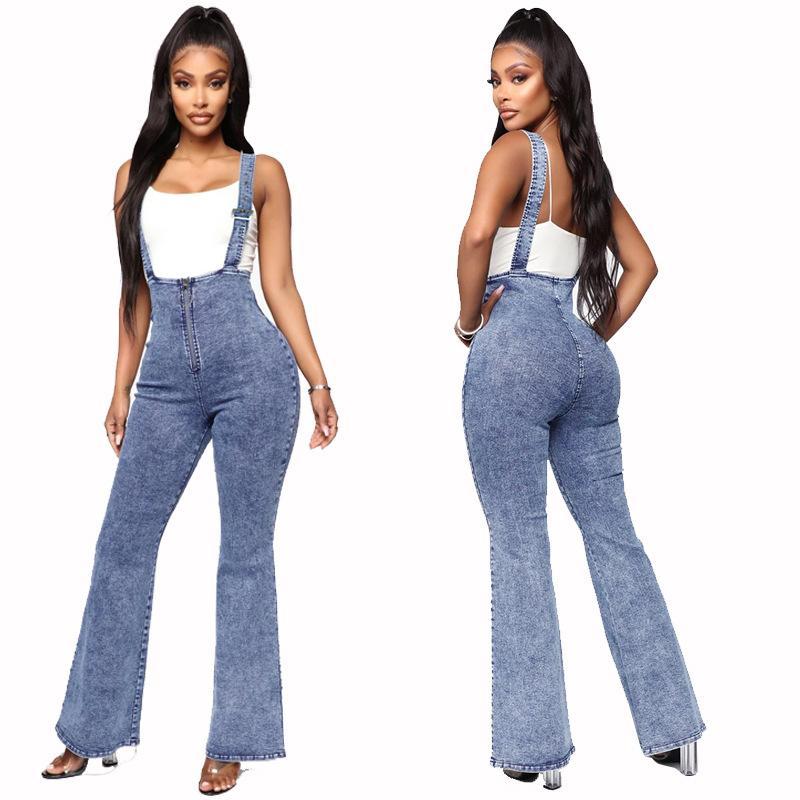 Compre Moda Para Mujer De Mezclilla Pantalones Elasticos Tirantes Para Mujer De Cintura Alta Pantalones De Campana Cremallera De Los Pantalones Vaqueros Bengala Denim Jeans Para La Hembra A 14 34 Del