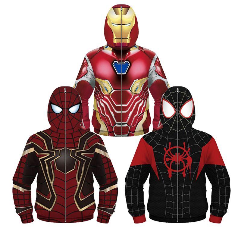 Boys Girl Jackets Kids Marvel Avengers Superhero Zipper Jacket Teenager Hooded Warm Jacket Coat Spider-Man Clothing Down Jacket
