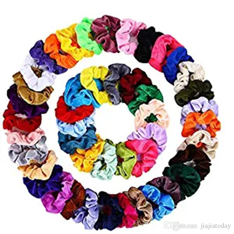 Bandas de pelo scrunchies terciopelo elástico del pelo Scrunchy lazos del pelo de Cuerdas banda para el cabello para mujeres o niñas de accesorios - 50pcs / lot