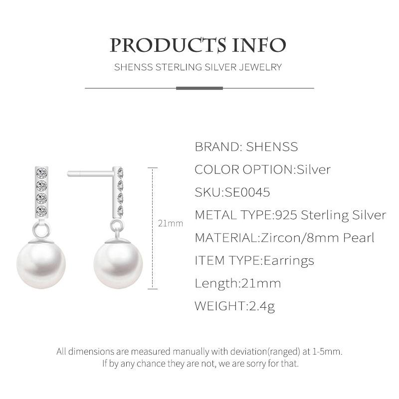 Quality Exquisite Shell Pearl Short Earrings Zircon Jewelry for Woman 925 Sterling Silver Material