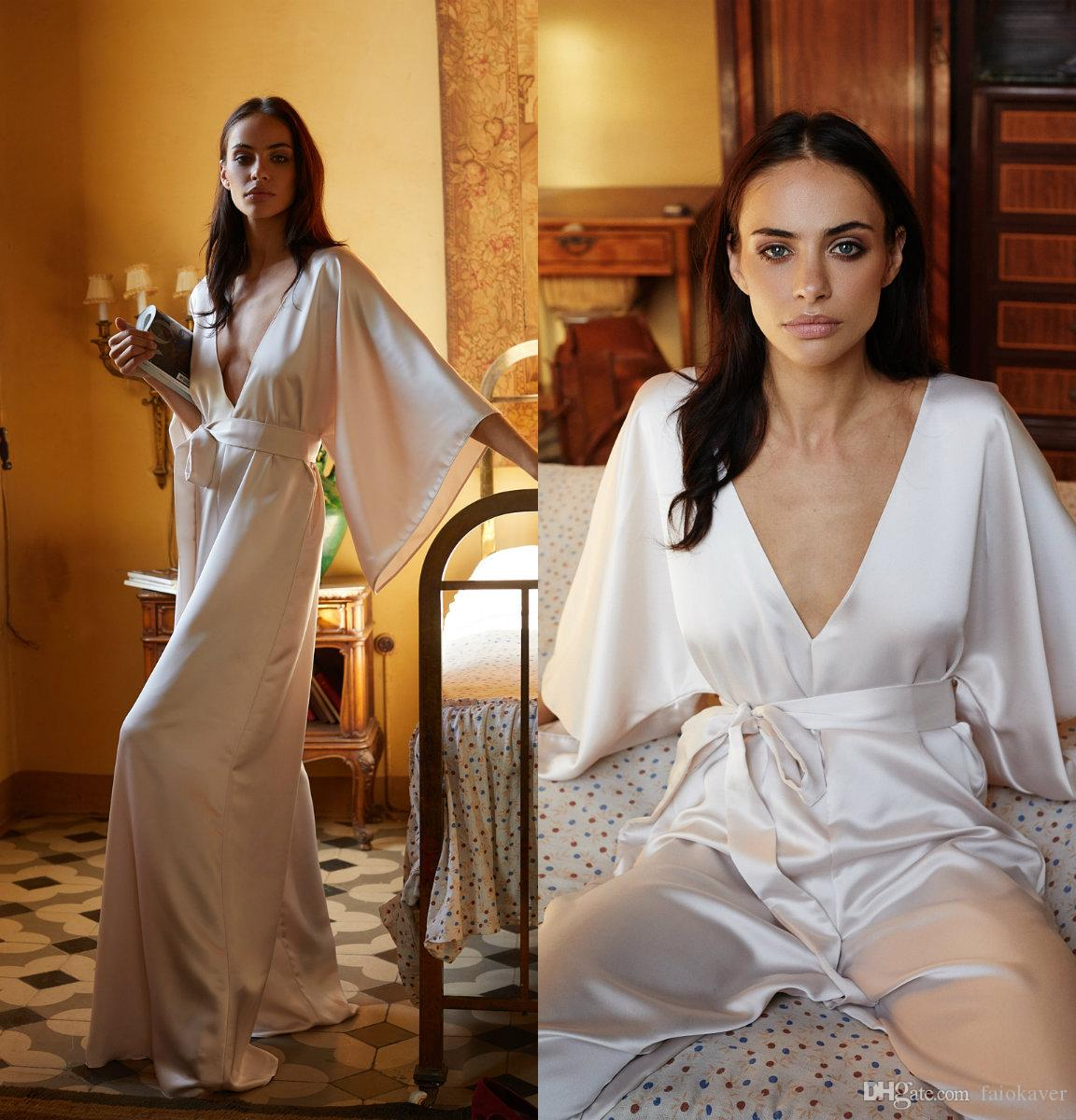 Ivory Bridal Bathrobe Jumpsuit Women Silk Satin Full Length Lingerie Nightgown Sleepwear Female Luxury Dresses Homewear Nightwear