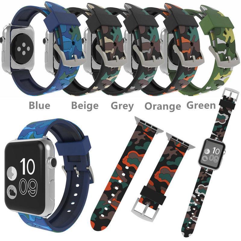 Faixa de relógio de camuflagem de silicone para a apple watch 40 mm 44 mm 38 mm 42 mm para a apple iwatch série 4/3/2/1 pulseira de substituição strap
