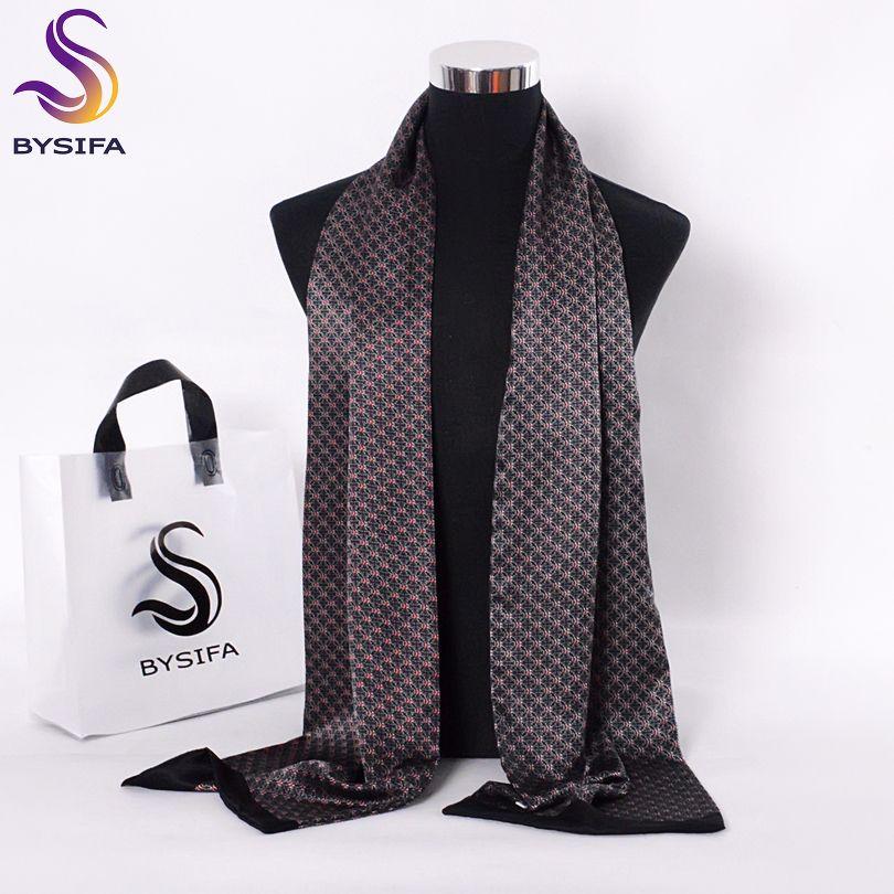 [BYSIFA] Negro rojo largo bufandas para los hombres Accesorios de Moda masculina pura seda de la bufanda del pañuelo del patrón de flores de invierno de la bufanda el 160 * 26cm T200103