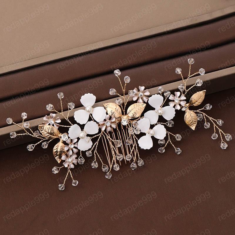 Luxuxfrauen Goldblumen-Haar-Kamm, handgewebt Zubehör Dressing Frauen-Brauthochzeitsornamente Haarschmuck
