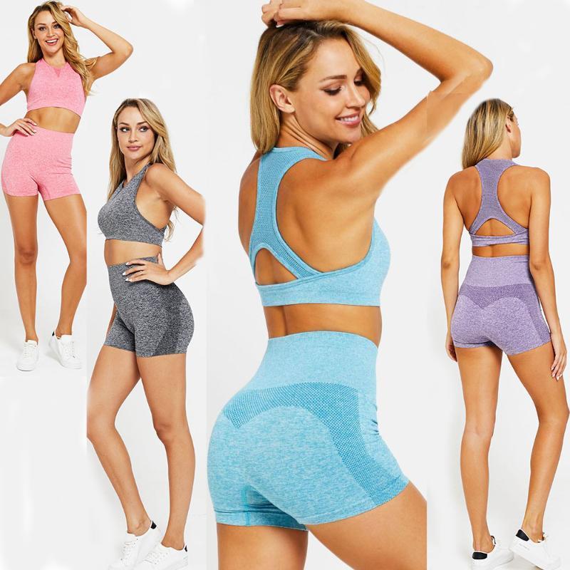 Yoga Kıyafetler Kadınlar Dikişsiz Kısa Takım Elbise Yaz Egzersiz Giyim Spor Tankı Sütyen ve Spor Şort Ropa Deportiva Femenin Elastik Sıkı Set