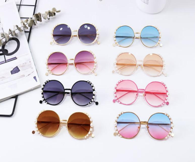 Fashion new Children sunglasses kids pearl round Metal frame sunglasses girls boys Uv protection beach sun glasses Adumbral A3110