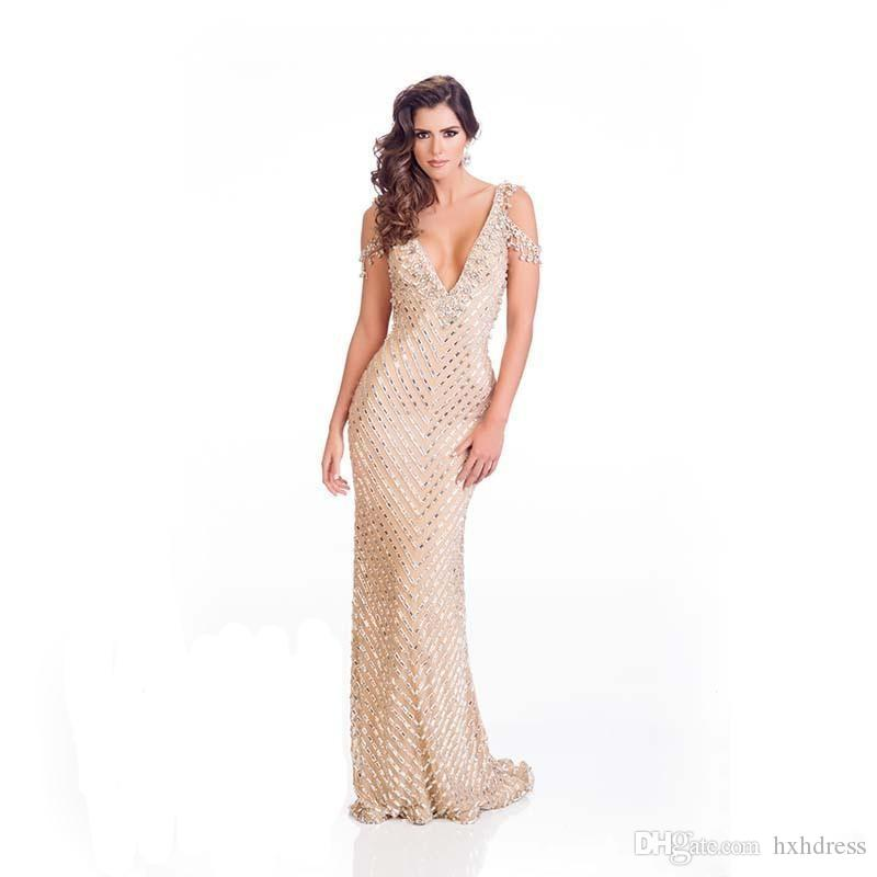 New Saudi Arabia Wholesale V Neck Backless Prom Gowns For Sale Online Formal Evening Gowns Stunning Crystal Beaded Mermaid Prom Dresses 077