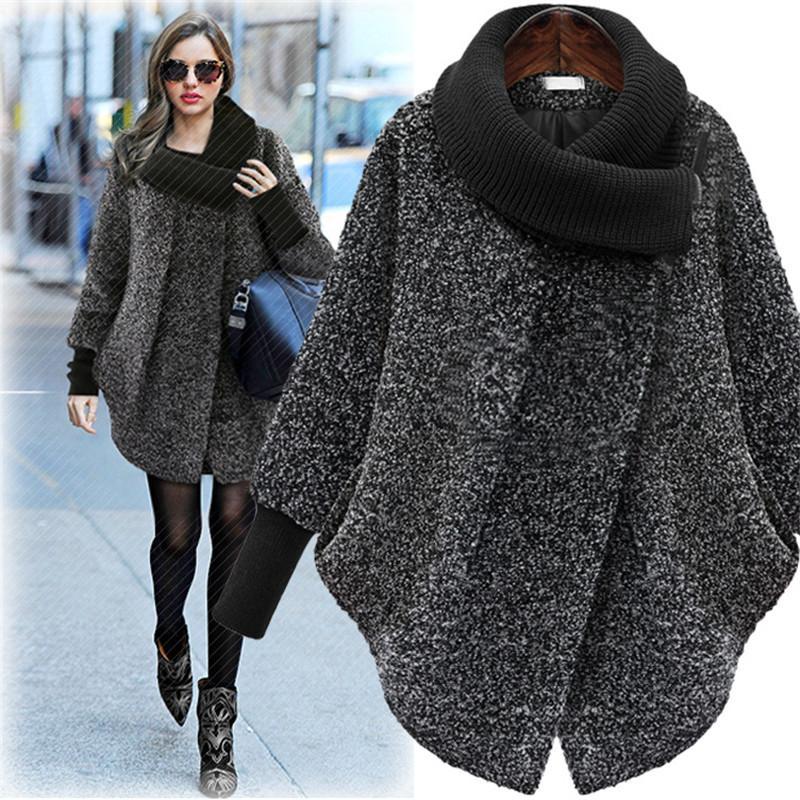 Sıcak Büyük Beden Bayan Yün Coat 2019 Sonbahar Kış Yün Coat Örme balıkçı Kalın Kaşmir Cloak Kadın Ceket Plus Size 5XL