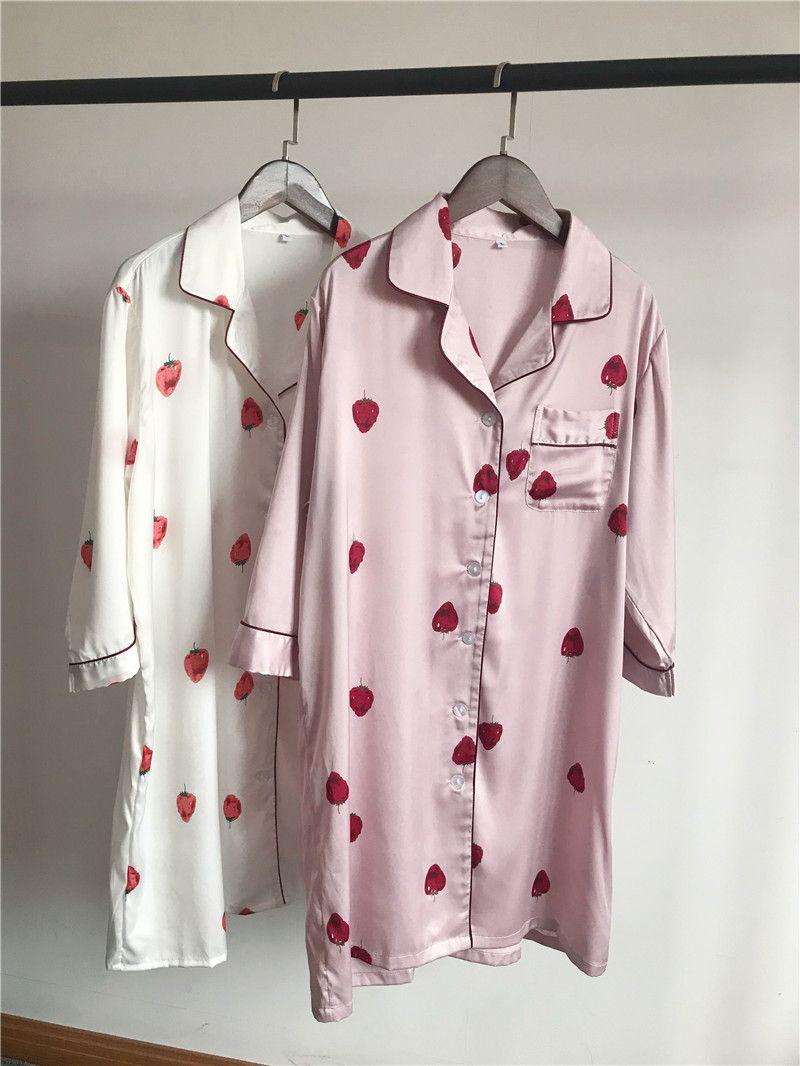 lady nightgown strawberry silk satin nightwear women sleepshirts sleepdress long sleeves female sleepwear