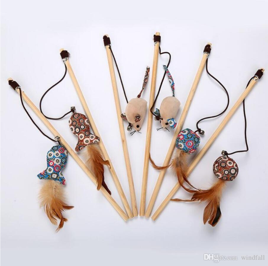 Pet cat toy wood rod funny cat stick with bell slamming funny rod with floral plush fish mouse replacement head