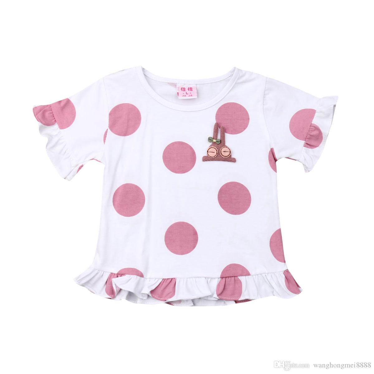 Neonato Neonato Bambino carino Neonata Polka Dot T-shirt in cotone Ruffle Imcute Nuova estate Moda Abiti Abiti Top