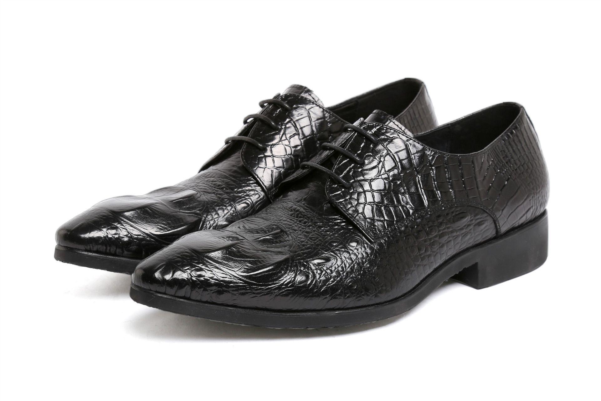 Zapatos de cuero con cordones de cocodrilo esquema formal usar zapatos de cuero de caballero de piel de vaca Material cómodo