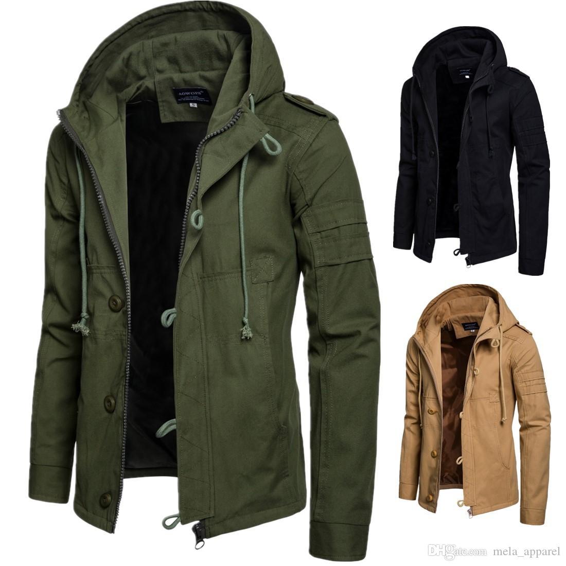 Осень Зима Zipper Solid Color Куртка с капюшоном Повседневная ветровка Мужчины Мужчины высокого качества Cardigans Outwear 3XL
