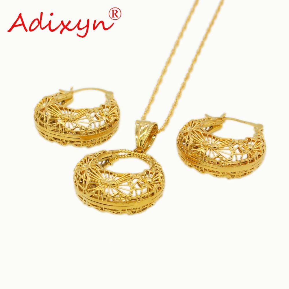 Venta al por mayor PNG Bilum Pendiente étnico / Collar / Colgante Conjunto de joyas para mujer Color oro / Cobre Africano / Etíope Regalos de fiesta N11014