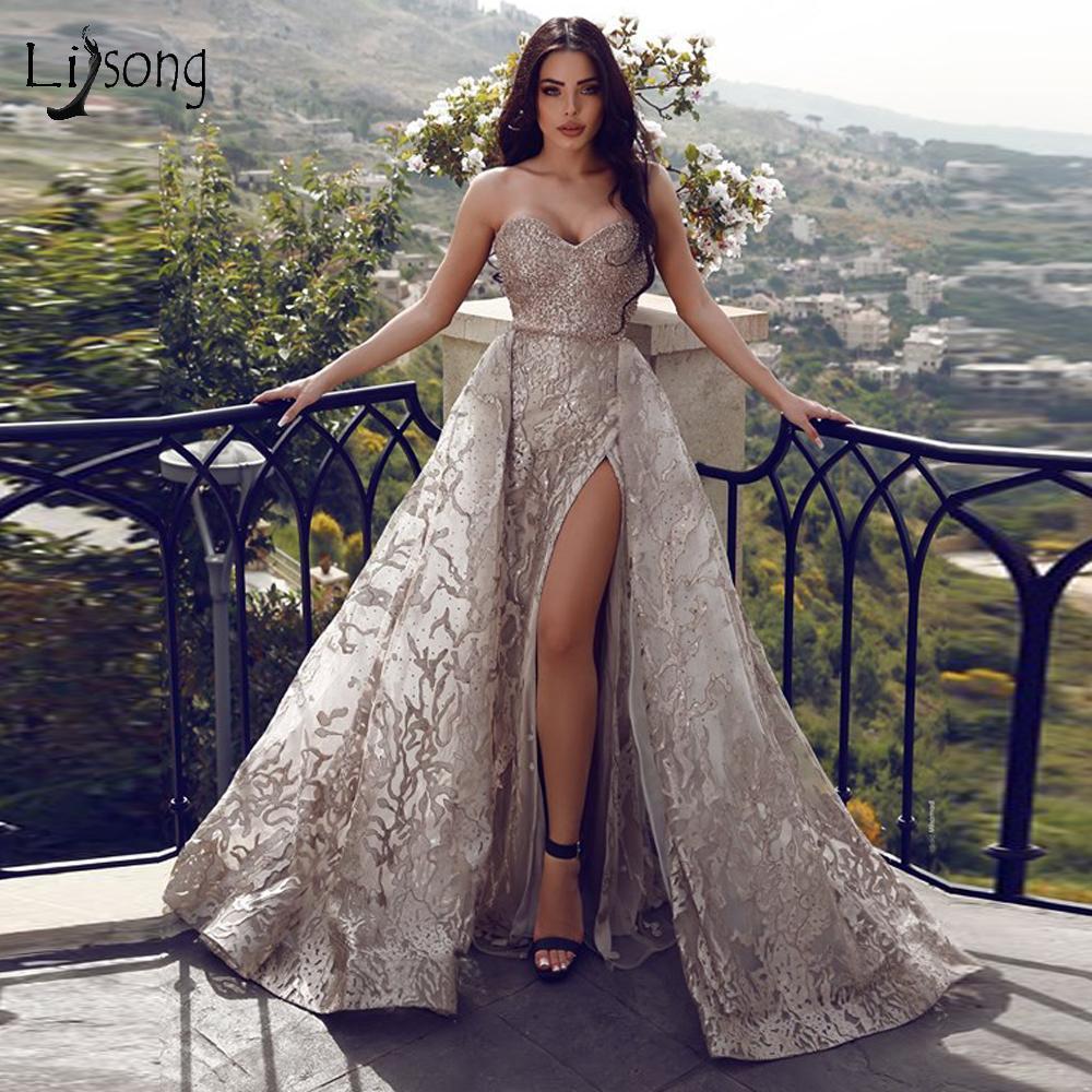 Abiti da sera in argento Smeetheart Abiti da sera Elegante Open Back Treno staccabile Plus Size Prom Gown 2020 Abito da partito formale