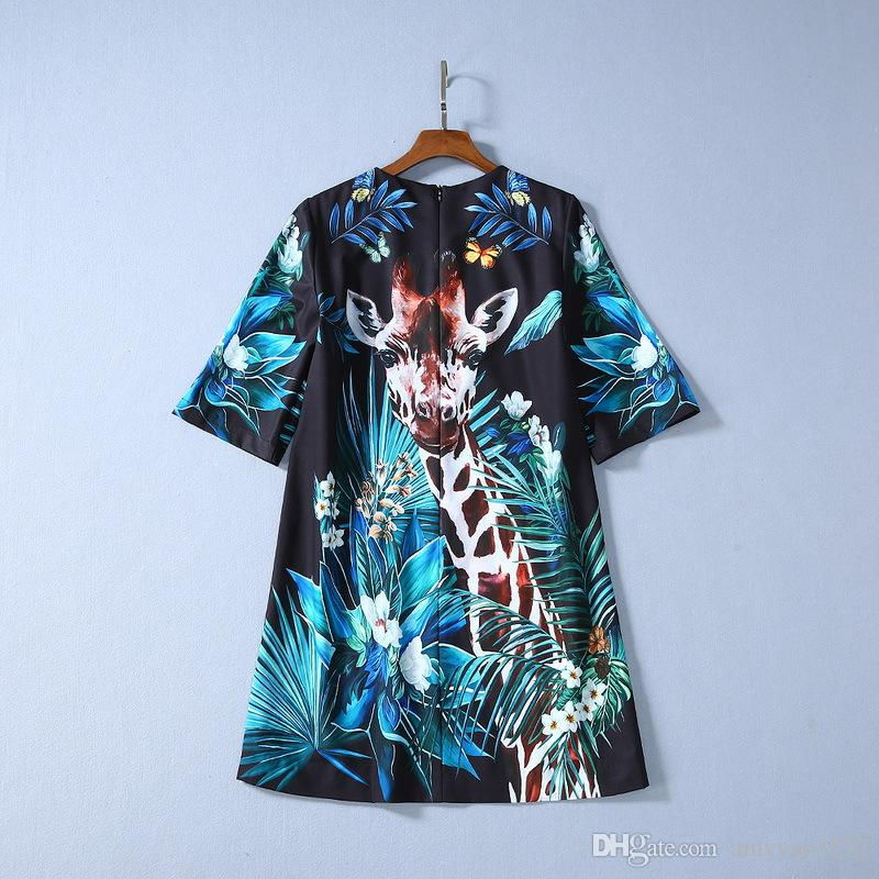 1120 2020 XL Spring Brand Same Style Crew Neck Short Sleeve Dress Beads Panelled Flora Print Luxury Womens Clothes SH