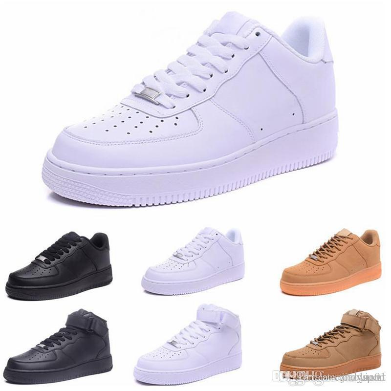 2018 High Quality New Classic forces Classical All High and low White black Wheat men women Sports Running Shoes Forcing skate sneakers