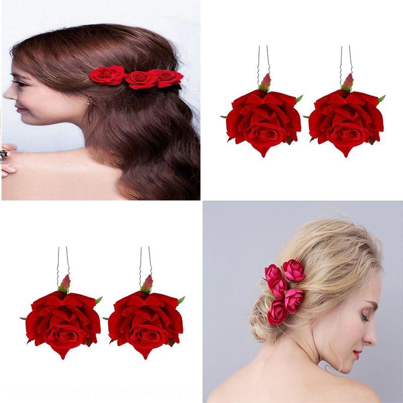 Popular new simulated red rose U-shaped hair accessories bridal side silk clip headdress silk flower headdress