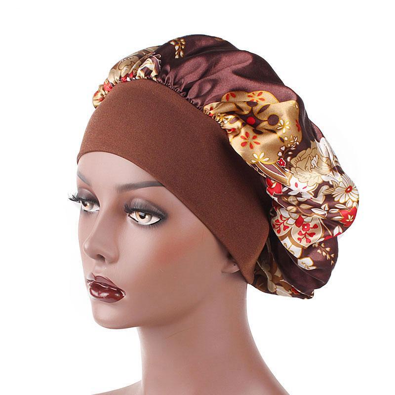 Yeni Geliş Çiçek Baskı Kadınlar Satin Gece Saç Bakımı Bonnet Şapka Merkez Kapağı Geniş Elastik Bant Headwrap Duş Caps Sleeping