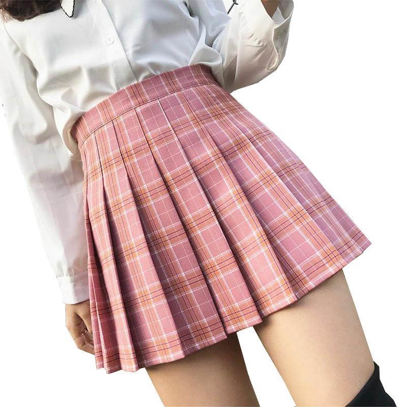 XS-3XL Frauen-Rock-adrette Art mit hoher Taille Chic Stitching kurze Röcke Summer Student Faltenrock Frauen nette süße Mädchen-Tanz-Rock