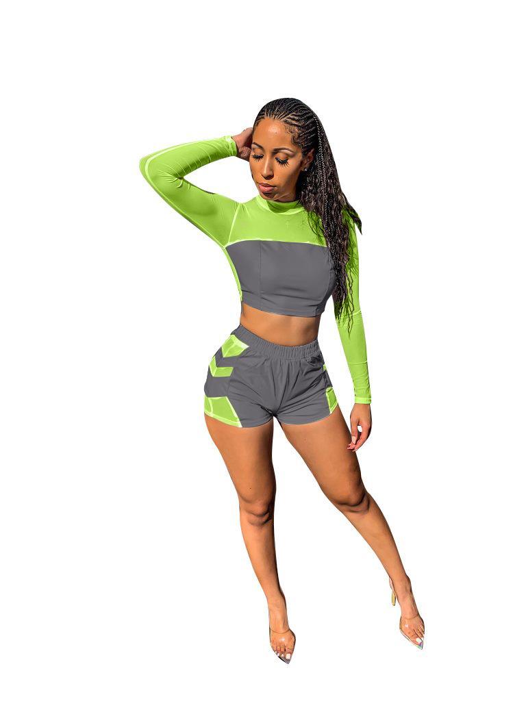 الدعاوى الصيف للمرأة مثير عاكس الرياضة الطاقم كم الرقبة الطويلة سروال قصير النادي الليلي نمط أزياء الملابس