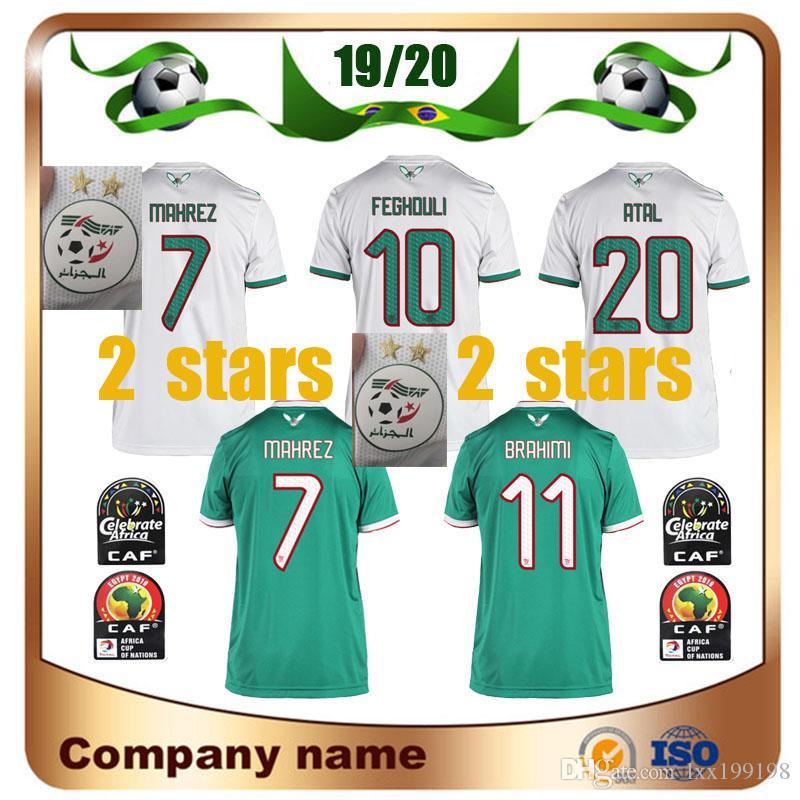 2 estrelas 2.019 Africa Cup Argélia # 7 Mahrez Soccer Jersey 19/20 Início Feghouli BRAHIMI BELAILI BOUNEDJAH da camisa do futebol Uniforme ATAL Futebol