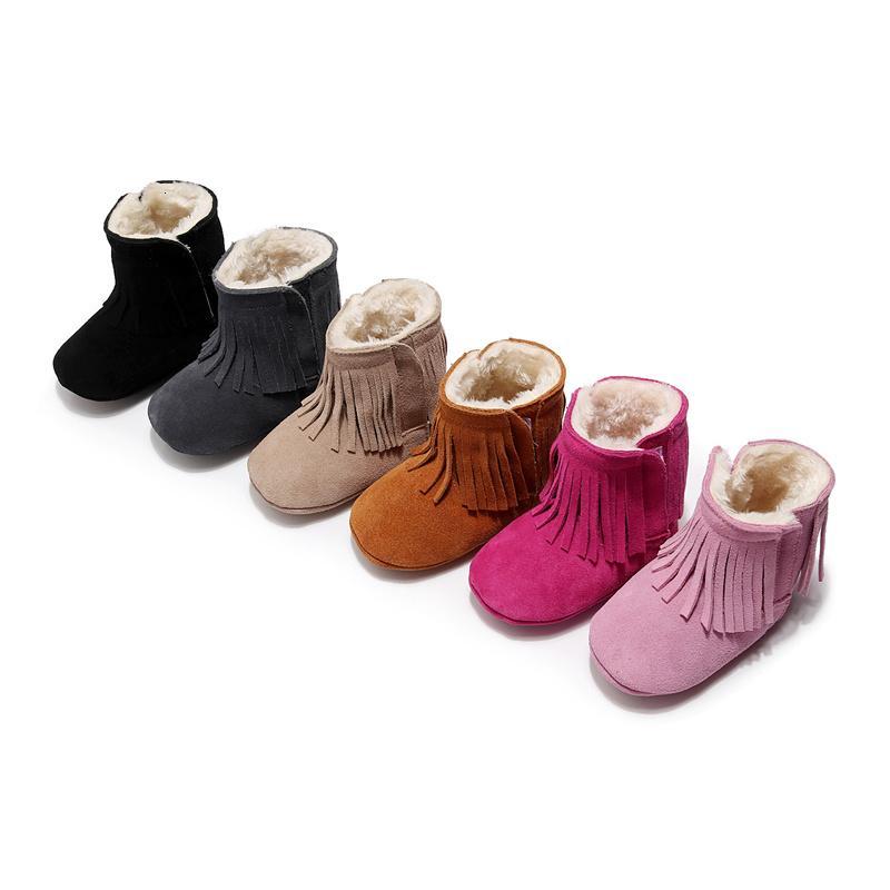 Deri Yeni Klasik Kar Boots Sneakers Yenidoğan Bebek Erkekler Kızlar İlk Yürüyenler Ayakkabı Bebek Yürüyor Yumuşak Sole Kaymaz 0-24M T191104