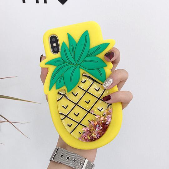 3D mignonne ananas Quicksand Fraise Glitter liquide étui en silicone couverture en silicone souple pour iPhone 11 XR Pro XS Max X 8 7 plus