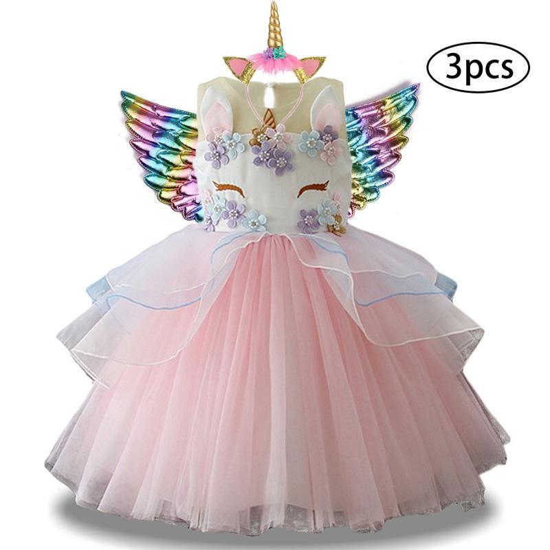 عيد الميلاد فستان بنات Costumn قوس قزح يونيكورن فستان للبنات الأميرة اللباس الطفل ملابس الاطفال عيد ميلاد الحزب Vestidos 2 6 10 Y