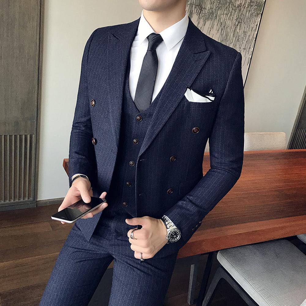 Çizgili Erkek Takım Elbise seti Custom siyah / Lacivert erkek Çizgili Suits Uyarlanmi Çift Breasted terno masculino İş düğün giysileri