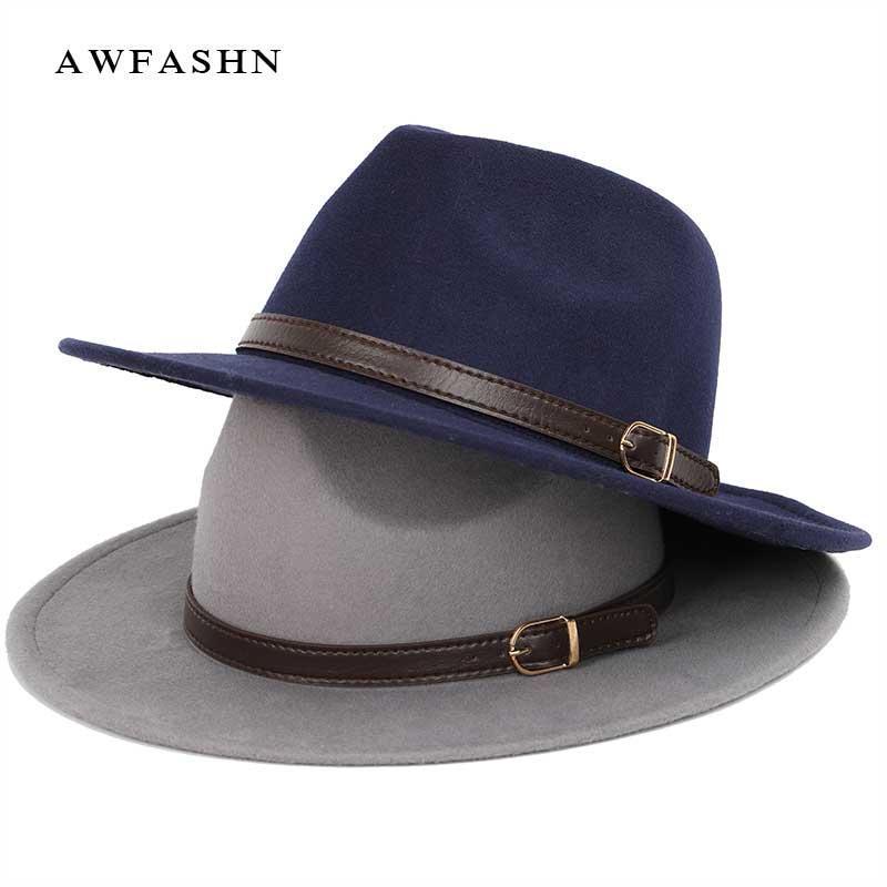 Top Vintage Wide Brim Hat Mens Pork Pie Cappelli donne di feltro Cappello autunno inverno degli uomini di lana di lusso della donna Bone Large Size paltL