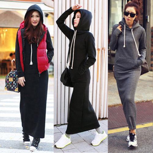 Moda otoño otoño invierno mujer negro gris suéter vestido Fleeced sudaderas con capucha de manga larga vestidos maxi delgado S M L XL XXL vestido de invierno M176