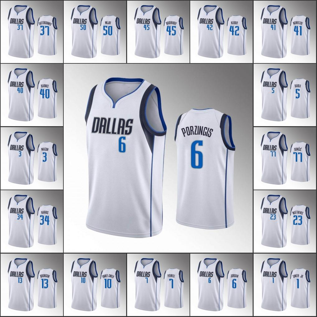 2020 Men Luka Doncic Dirk Nowitzki Kristaps Delon Wright Porzingis Association White Custom Jersey