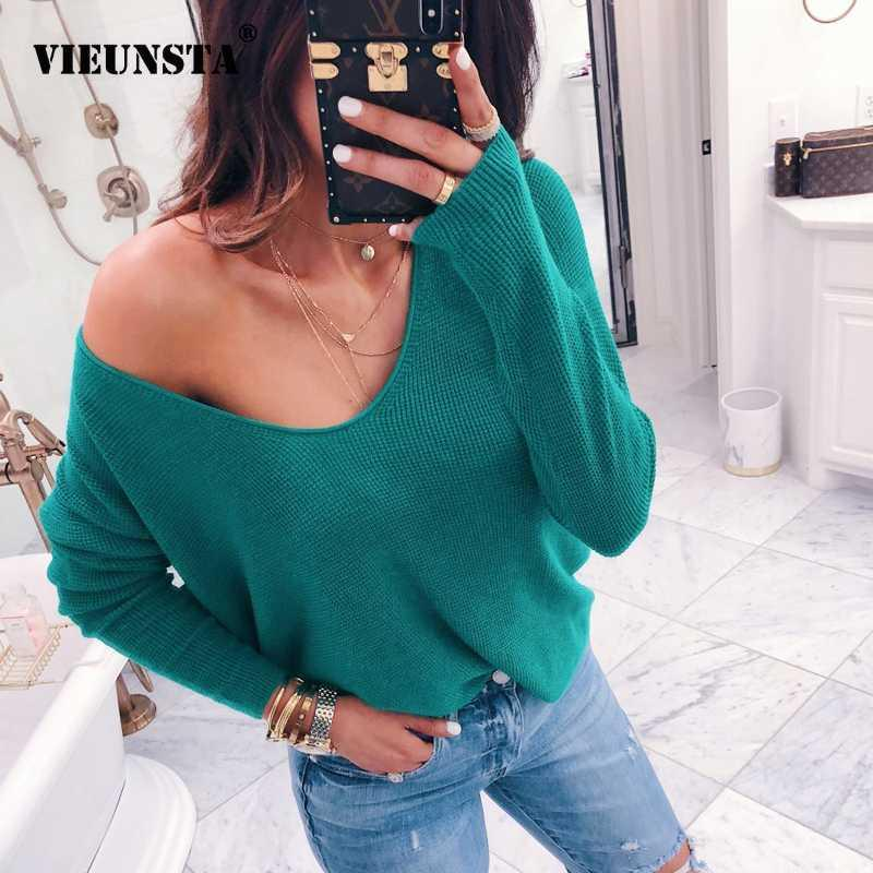 VIEUNSTA Sexy V-neck Off Shoulder Sweater Women 2018 Casual Long Sleeve Ribbed Solid Pullover Female Autumn Winter Knitted Tops