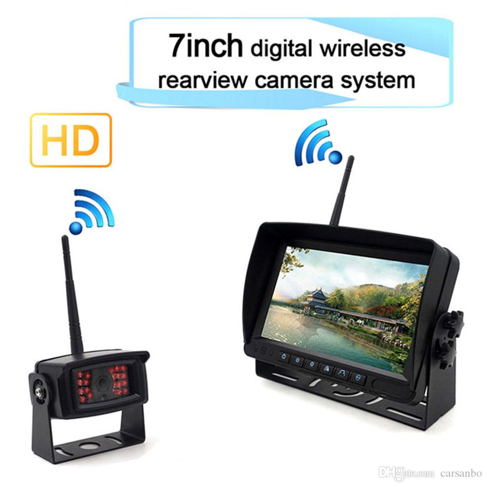 Car 720P HD Infrared lamp Night vision Waterproof Rear view camera and 7 inch monitor Reversing Digital wireless system