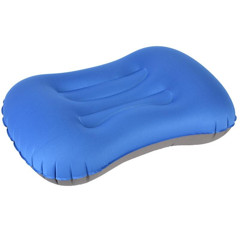 Cojín inflación recorrido que acampa portable ultraligero almohada inflable Almohada respaldo con bolsillo de almacenamiento EKN98
