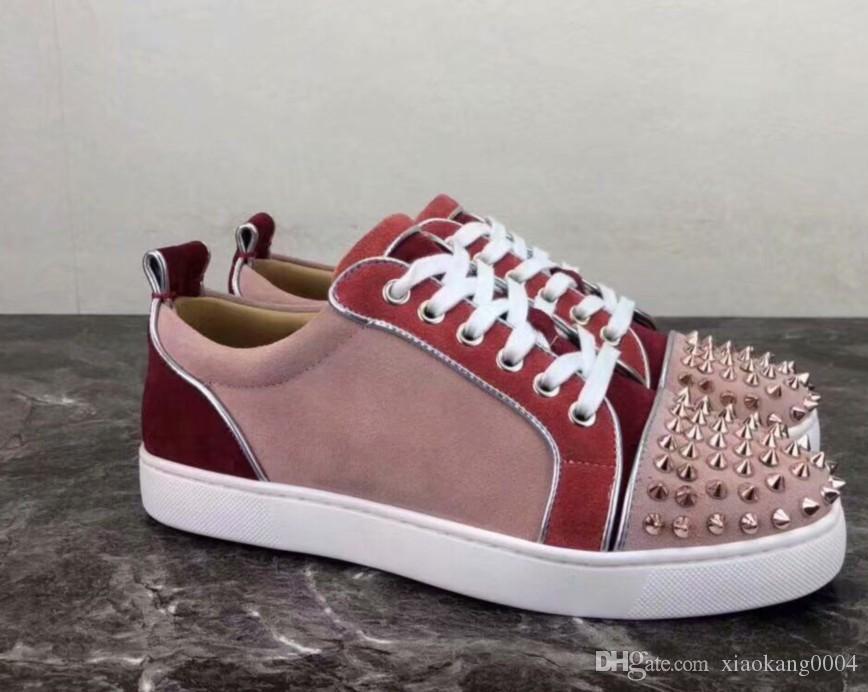 Дизайнерские кроссовки красные нижние Шипы плоские велюровые замшевые кроссовки железно-серые мужские кроссовки 100% натуральная кожа Party shoes US 5-12 hk06