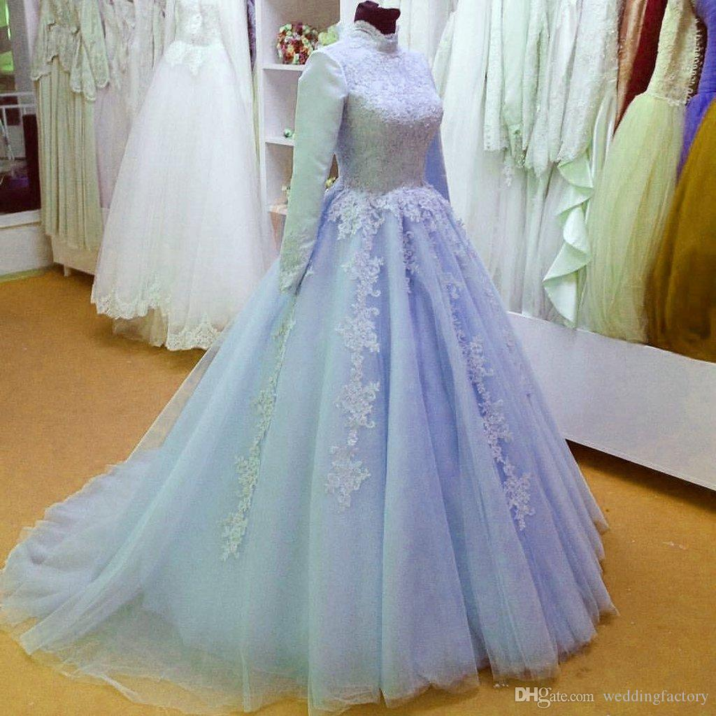 Muslim Long Sleeves High Neck Wedding Dresses Ball Gown Applique Sweep Train