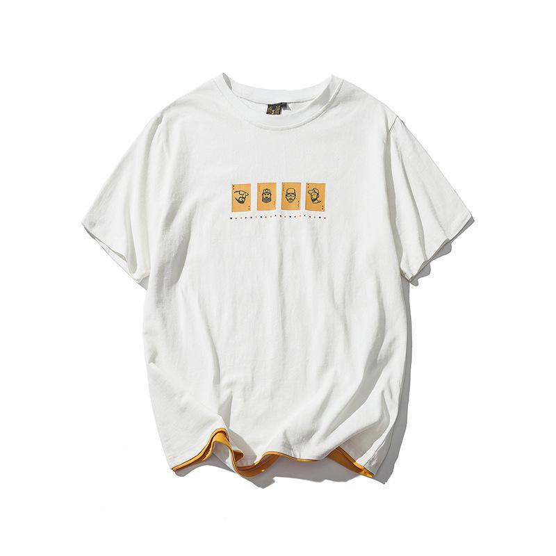 Original Men's Simple Character Print T-shirt Men's Short Sleeve Loose Tide Half Sleeve Youth Top 2020
