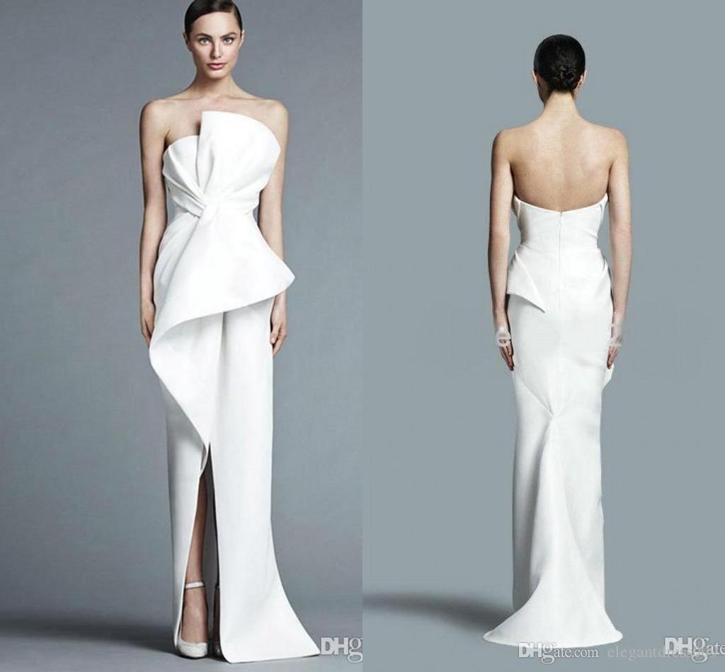 2019 nouvelle mode robes de mariée de la gaine bon marché sans bretelles frontales longueur longueur robe de mariée robe de mariée robe de mariée vestido de novia
