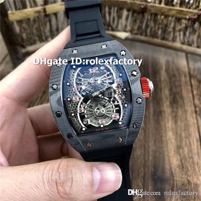 Black Carbon Fibers Mens Watch 022 Tourbillon Aerodyne Dual Time Zone Automatic Sapphire Crystal Red/Green/Black Rubber Strap Watches