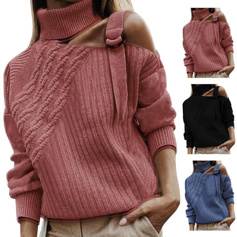 Femmes Pulls Tops chaud épaule froid commerciaux solides manches longues tricotée à col roulé Party Casual Daily doux Automne Hiver Femmes Pull