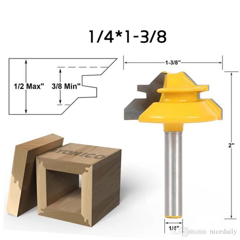 1PC knife 45 Degree 1/2'' Shank Lock Miter Stock Joint Router Bits For Woodworking Cutter Tools 1/4*1-3/8 Wood Drill