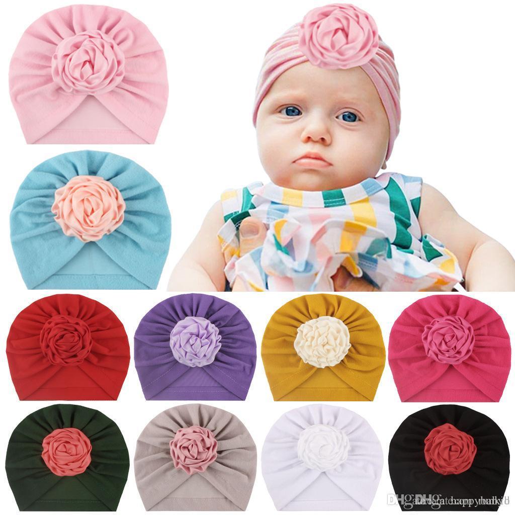 10 cores infantil bonito da criança indiana Turban cap Crianças Primavera Outono Flor Caps Hat bebê cor sólida Cotton Hairband