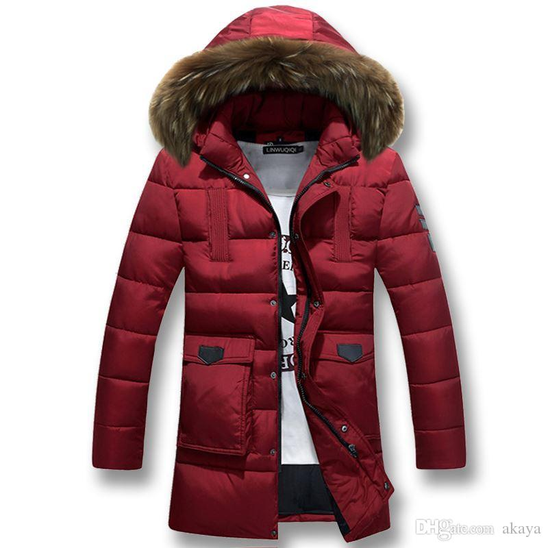 Marka Yeni Erkekler Ceketler Moda Erkek Kış Kalın Sıcak Ceketler Parkas Rahat Ince Spor Uzun erkek Aşağı Artı Boyutu 3XL Ordu Yeşil