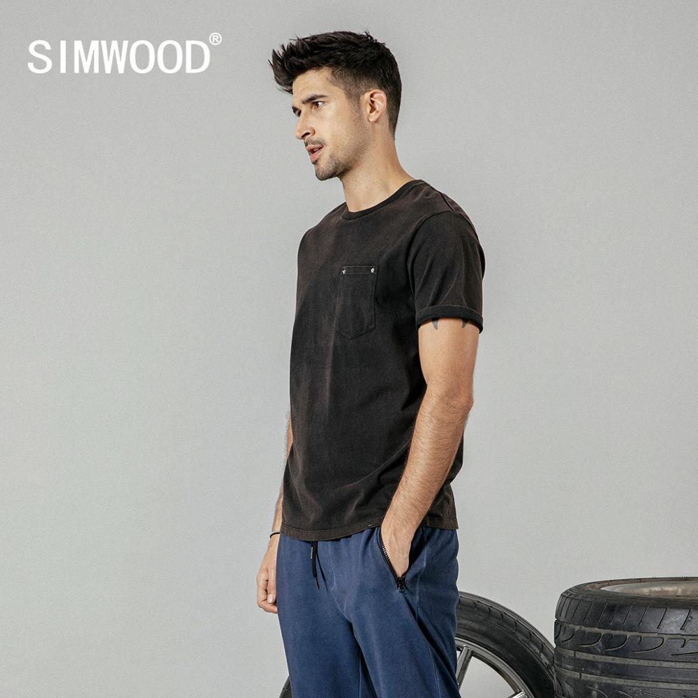 Simwood 2019 été Nouveau T-shirt Hommes Vintage Safari Style T-shirt À Col En C 100% Coton De Mode T-shirt Marque Vêtements 190268 Y19072201